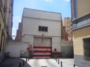 Trasera del Parking situado en el Paseo de la Chopera. Actualmente es el remate sur de la Calle Evaristo