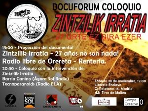 Docuforum-coloquio Zintzilik Irratia - Librería Enclave - 28nov